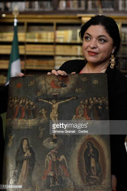 Secretary of Culture of the United Mexican States Dr Alejandra Frausto Guerrero during the restitution ceremony of 594 ex voto paintings unlawfully...