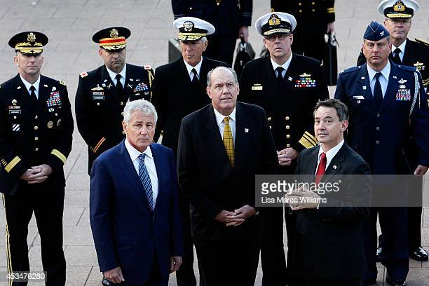 Secretary of Defence Chuck Hagel and Australian Defence Minister David Johnston arrive at ANZAC Memorial in Hyde Park for a wreath laying ceremony on...