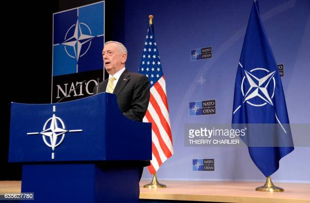 Secretary of Defence James Mattis addresses a press conference following the NATO Defence Ministers' meeting at the NATO headquarters in Brussels, on...