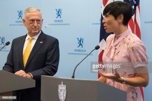 Secretary of Defence James Mattis and Norwegian Foreign Minister Ine Eriksen Soreide address a press conference in Olso on July 14 2018