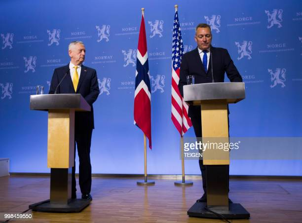 US Secretary of Defence James Mattis and Norwegian Minister of Defense Frank BakkeJensen address a press conference at the Ministry of Defence in...