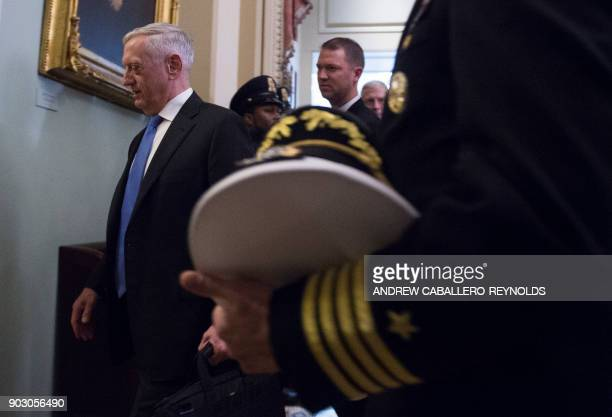 US Secretary of Defence Jim Mattis leaves after a Republican Stentors luncheon on Captiol Hill in Washington DC on January 9 2018 / AFP PHOTO /...