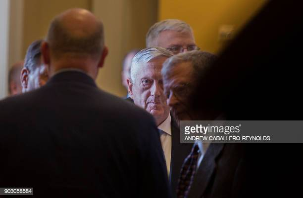 US Secretary of Defence Jim Mattis looks on after a Republican Senators luncheon on Capitol Hill in Washington DC on January 9 2018 / AFP PHOTO /...