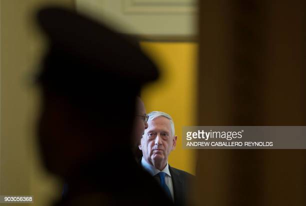 US Secretary of Defence Jim Mattis waits for the start of a Republican Senators luncheon on Captiol Hill in Washington DC on January 9 2018 / AFP...