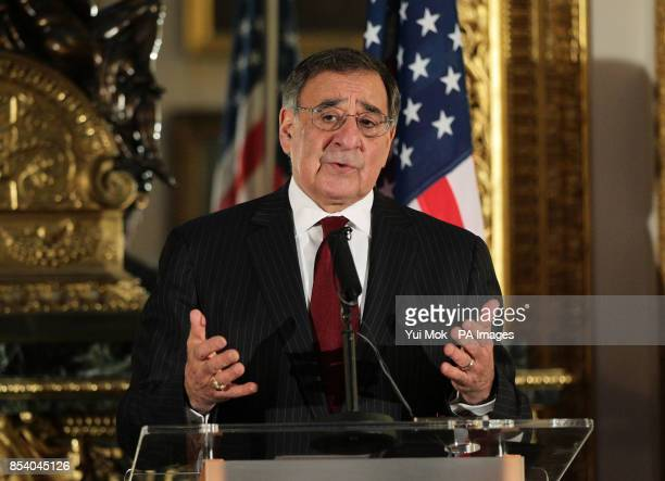 US Secretary of Defence Leon Panetta during a press conference on the hostage crisis in Algeria at Lancaster House central London