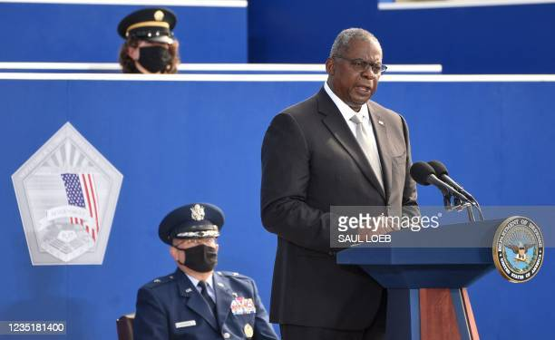 Secretary of Defence Lloyd Austin speaks during a remembrance ceremony to mark the 20th anniversary of the 9/11 attacks, at the Pentagon in...
