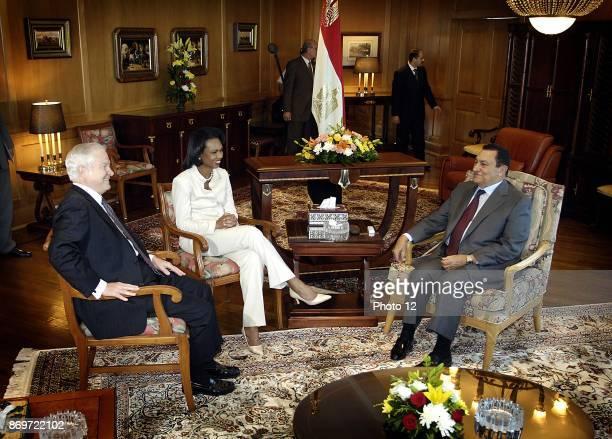 US Secretary of Defence Robert Gates with Secretary of State Condoleezza Rice meeting Egyptian President Hosni Mubarak in Sharm El Sheikh July 31 2007