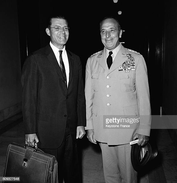 Secretary Of Defence Robert McNamara And General Lyman Lemnitzer Before the Meeting Of the Senate Commission To Examine The Request Of the White...
