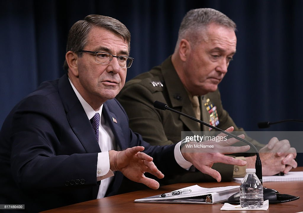 Defense Secretary Ashton Carter And Joint Chiefs Of Staff Dunford Hold Media Briefing