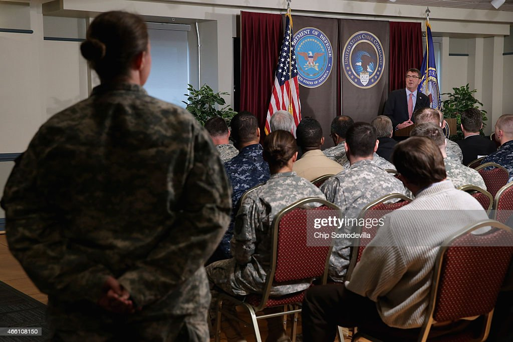 U.S. Secretary of Defense Ash Carter answers questions from U.S. Cyber Command troops while visiting the National Security Agency and command headquarters March 13, 2015 in Fort Meade, Maryland. Carter emphasized the importance of military cyber operations by making this his first visit with soliders, sailors, airmen and Marines inside the United States since becoming defense secretary in February 2015.