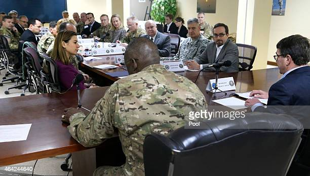 S Secretary of Defense Ash Carter convenes a regional security meeting at Camp Arifjan on February 23 2015 in Kuwait Carter will chair a meeting on...