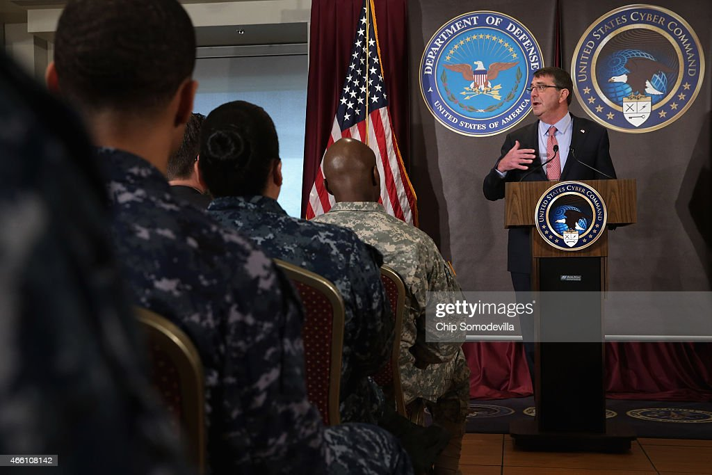 U.S. Secretary of Defense Ash Carter delivers remarks to an audience of U.S. Cyber Command troops and National Security Agency employees while visiting the NSA and command headquarters March 13, 2015 in Fort Meade, Maryland. Carter emphasized the importance of military cyber operations by making this his first visit with soliders, sailors, airmen and Marines inside the United States since becoming defense secretary in February 2015.