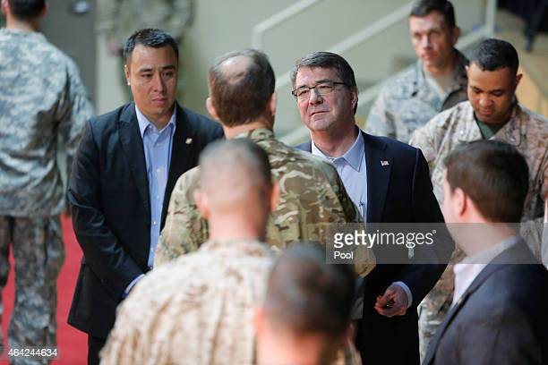S Secretary of Defense Ash Carter greets troops at a questionandanswer session at Camp Arifjan on February 23 2015 in Kuwait Carter will chair a...