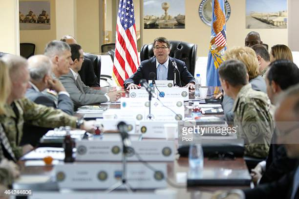 S Secretary of Defense Ash Carter holds a regional security meeting at Camp Arifjan on February 23 2015 in Kuwait Carter will chair a meeting on...