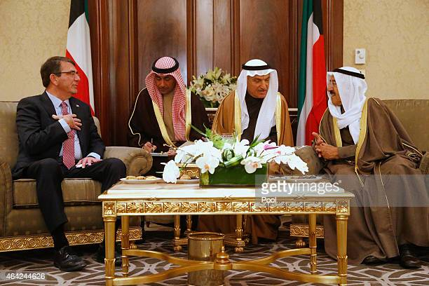 S Secretary of Defense Ash Carter meets Kuwaiti Emir Sheikh Sabah alAhmed alSabah at the Amiri Terminal at Kuwait City International Airport on...
