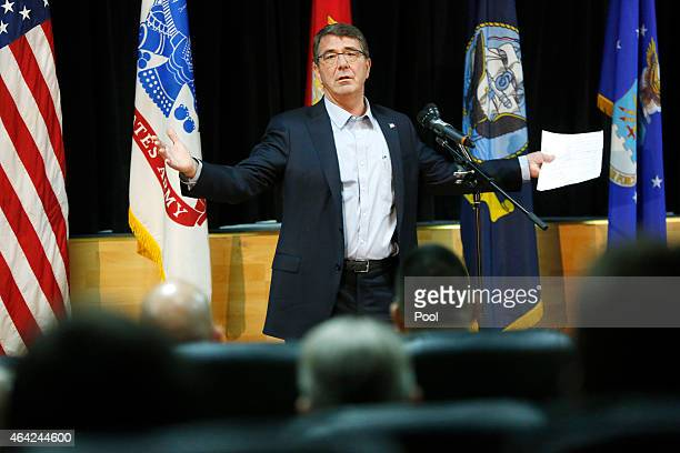 S Secretary of Defense Ash Carter speaks to troops during a questionandanswer session at Camp Arifjan on February 23 2015 in Kuwait Carter will chair...