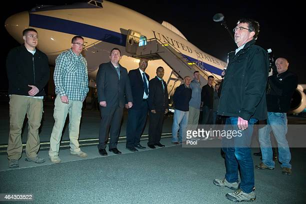 S Secretary of Defense Ash Carter thanks motorcade drivers and support personnel as he departs for Washington from Kuwait City International Airport...