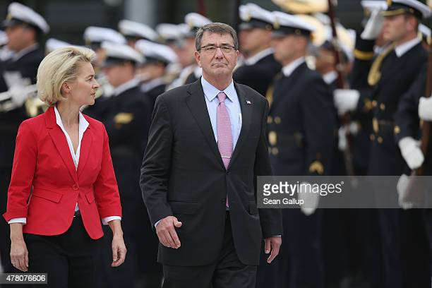 S Secretary of Defense Ashton Carter and German Defense Minister Ursula von der Leyen review a guard of honour upon Carter's arrival at the Defense...