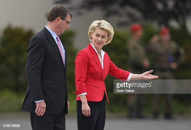 S Secretary of Defense Ashton Carter and German Defense Minister Ursula von der Leyen prepare to review a guard of honour upon Carter's arrival at...