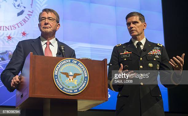 US Secretary of Defense Ashton Carter and US General Joseph Votel hold a press conference at the conclusion of a meeting of defense ministers of the...
