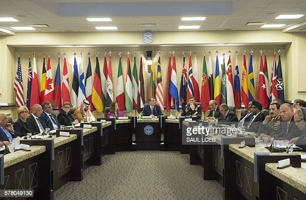 US Secretary of Defense Ashton Carter and US General Joseph Votel Commander of US Central Command host defense ministers of the Global Coalition to...