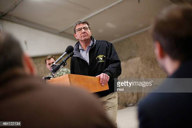 S Secretary of Defense Ashton Carter holds a news conference after spending the day at Kandahar Airfield February 22 2015 in Kandahar Afghanistan The...