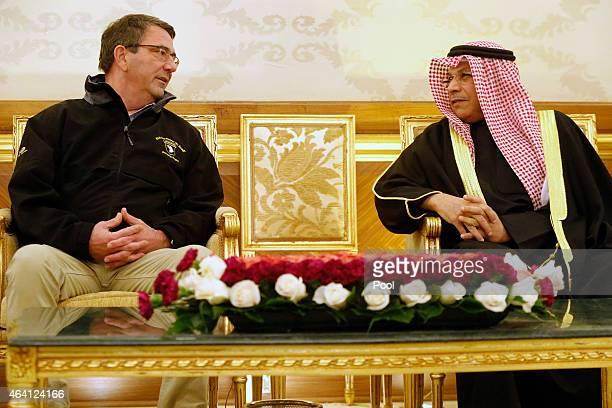 S Secretary of Defense Ashton Carter is greeted by Kuwait's Defense Minister Sheikh Khalid alJarrah alSabah as Carter arrives at Kuwait City...