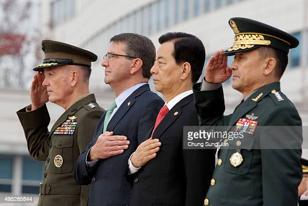 S Secretary Of Defense Ashton Carter South Korean Defense Minister Han Min Koo General Joseph Dunford US chairman of the Joint Chiefs of Staff and...