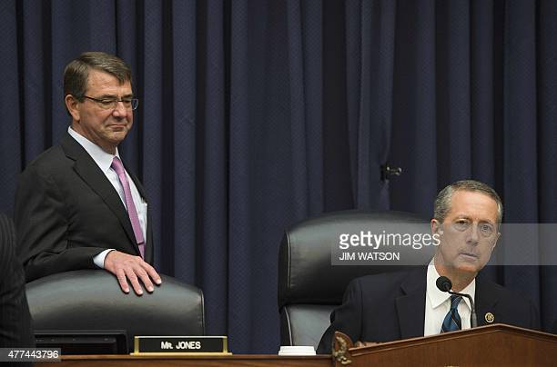 Secretary of Defense Ashton Carter waits to speak with Chairman of the House Armed Services Committee Congressman Mac Thornberry, R-Texas, on Capitol...