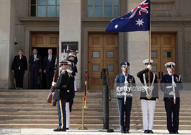 Secretary of Defense Ashton Carter welcomes Australian Defense Minister Marise Payne and Australian Minister for Defense Industry Christopher Pyne...