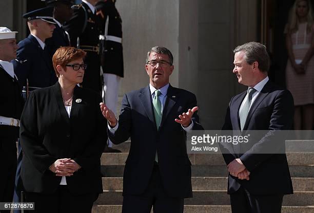 S Secretary of Defense Ashton Carter welcomes Australian Defense Minister Marise Payne and Australian Minister for Defense Industry Christopher Pyne...