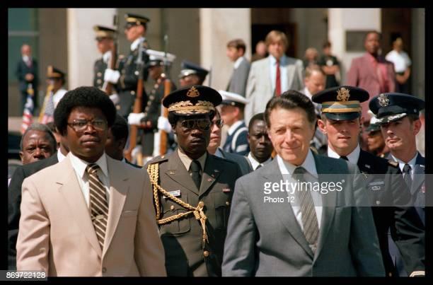 US Secretary of Defense Caspar Weinberger with Liberian leader Samuel Doe at the Pentagon in Washington