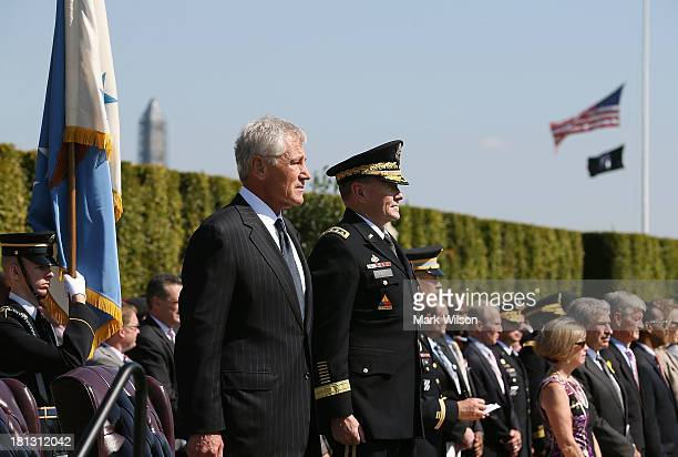 S Secretary of Defense Chuck Hagel and Chairman of the Joint Chiefs of Staff Gen Martin E Dempsey participate in a ceremony to honor POW and MIA's at...