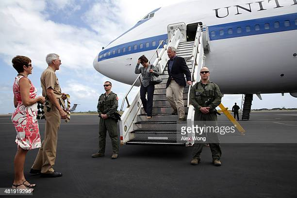 S Secretary of Defense Chuck Hagel and his wife Lilibet Hagel are welcomed by Commander of US Pacific Command Admiral Samuel Locklear and his wife...