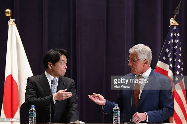 S Secretary of Defense Chuck Hagel and Japanese Defense Minister Itsunori Onodera participate in a joint news conference at the Japanese Ministry of...