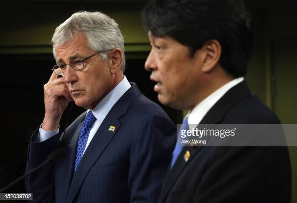 S Secretary of Defense Chuck Hagel and Japanese Minister of Defense Itsunori Onodera participate in a joint news conference at the Pentagon July 11...