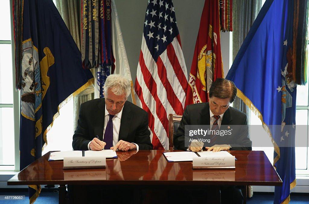 Defense Secretary Hagel Meets With Korean Defense Minister At Pentagon : News Photo