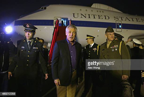S Secretary of Defense Chuck Hagel arrives at Beijing International Airport on April 7 2014 in Beijing China Secretary Hagel is on an Asian trip the...