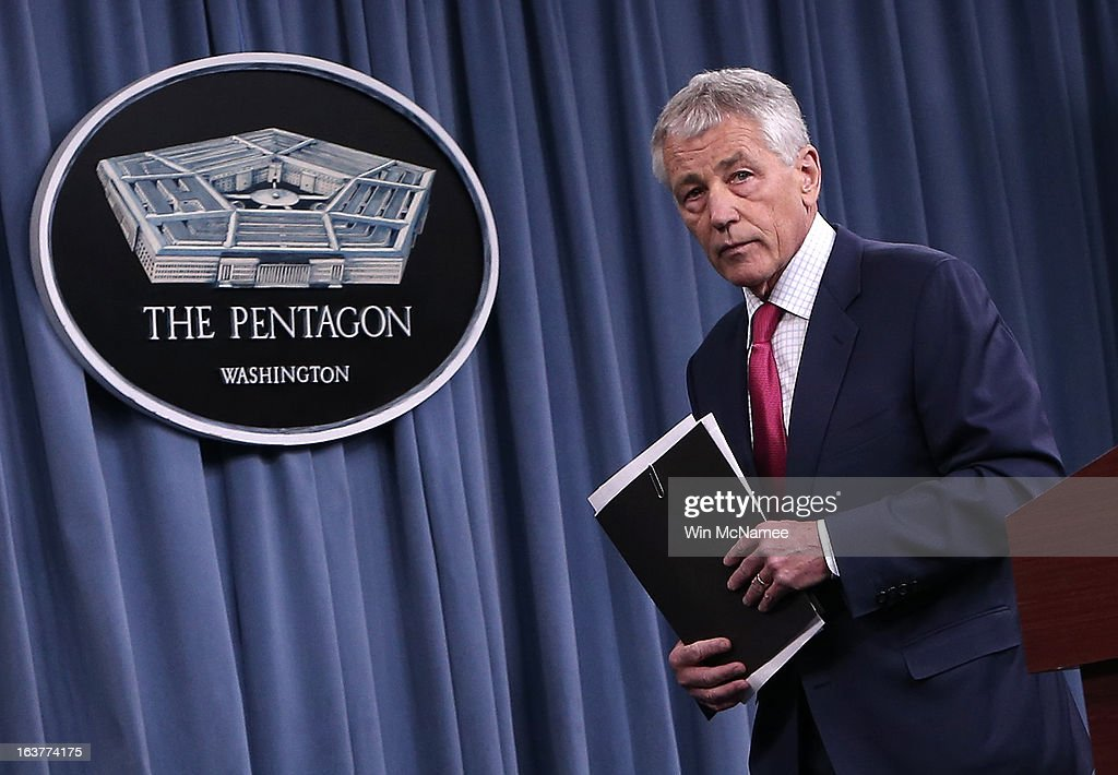 U.S. Secretary of Defense Chuck Hagel departs after speaking on the U.S. missile defense system during a press briefing at the Pentagon March 15, 2013 in Arlington, Virginia. Hagel said the U.S. plans to boost its missile defense system due to concerns about the possible nuclear capabilities of North Korea.