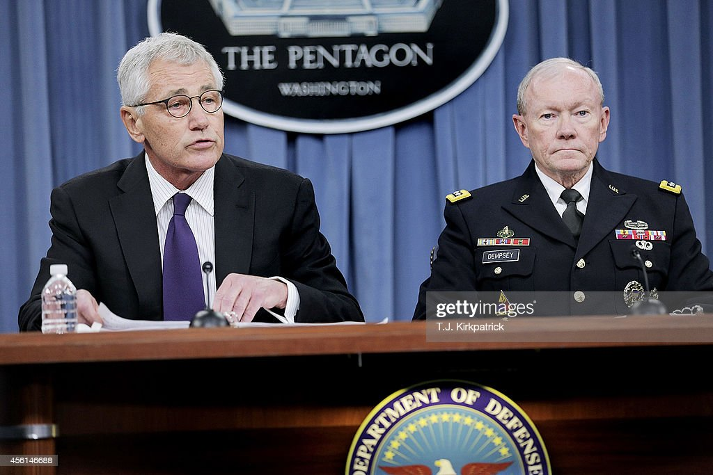 Secretary Of Defense Hagel And Joint Chiefs Of Staff Gen. Dempsey Brief Media At The Pentagon