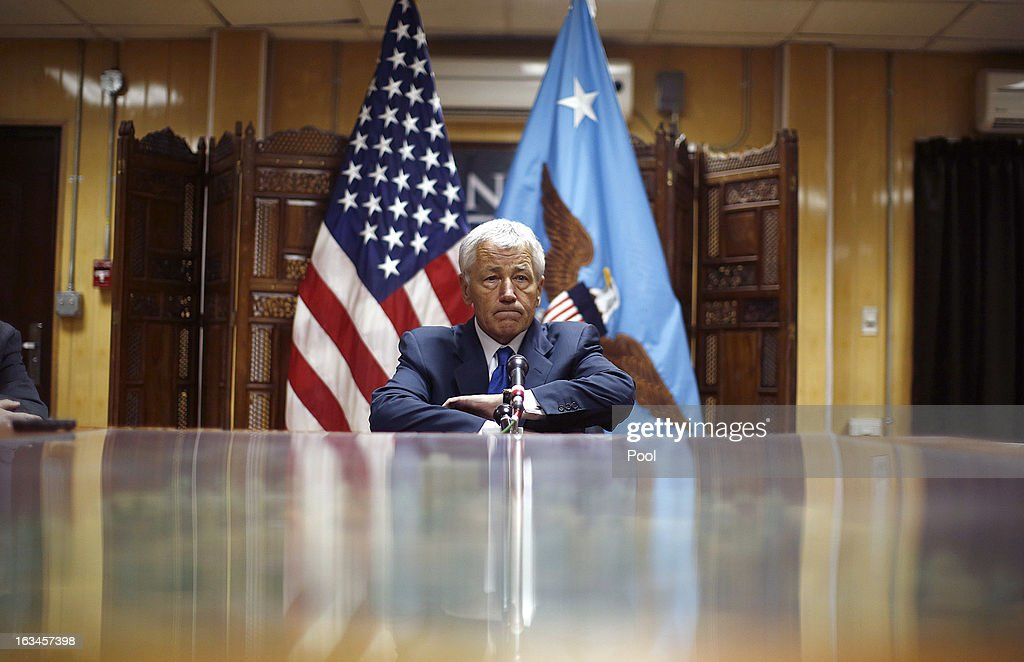 U.S. Secretary of Defense Chuck Hagel prepares to speak to the press following his meeting with Afghanistan's President Hamid Karzai on March 10, 2013 in Kabul, Afghanistan. Hagel is on his first official trip since being sworn in as U.S. President Obama's Defense Secretary.