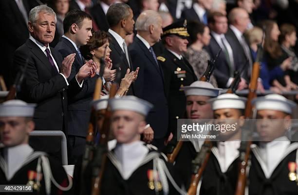 US Secretary of Defense Chuck Hagel President Barack Obama Vice President Joe Biden and Chairman of the Joint Chiefs of Staff Gen Martin Dempsey...
