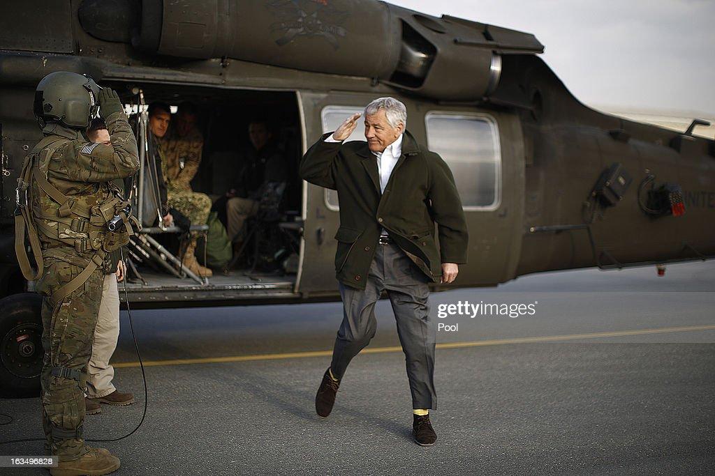 Sec. of Defense Hagel Makes Suprise Visit  To Afghanistan