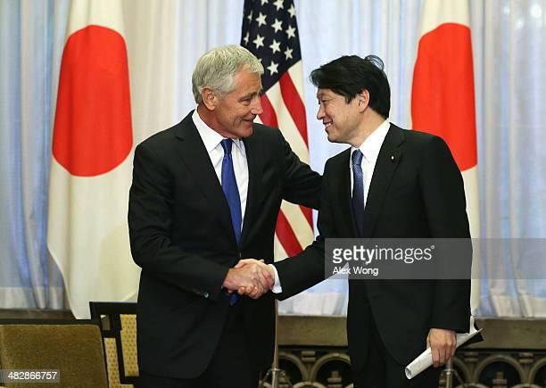 S Secretary of Defense Chuck Hagel shakes hands with Japanese Defense Minister Itsunori Onodera prior to a meeting with Japanese Prime Minister...