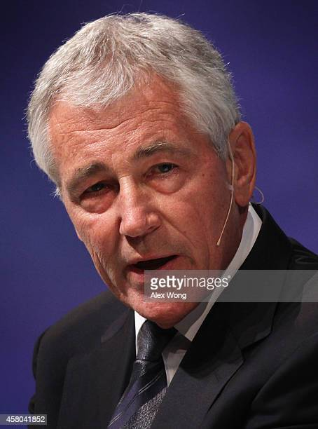 S Secretary of Defense Chuck Hagel speaks during a session at the sixth annual Washington Ideas Forum hosted by The Aspen Institute and the Atlantic...