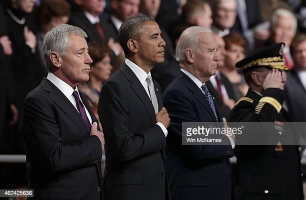US Secretary of Defense Chuck Hagel US President Barack Obama US Vice President Joe Biden and Chairman of the Joint Chiefs of Staff Gen Martin...