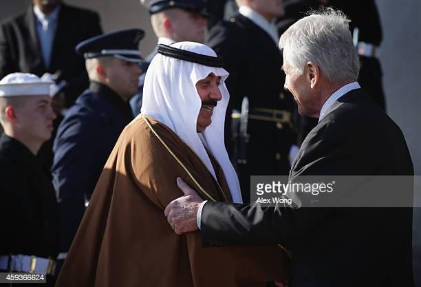 S Secretary of Defense Chuck Hagel welcomes Saudi National Guard Minister Prince Mitib bin Abdallah bin Abd alAziz Al Saud to the Pentagon during an...