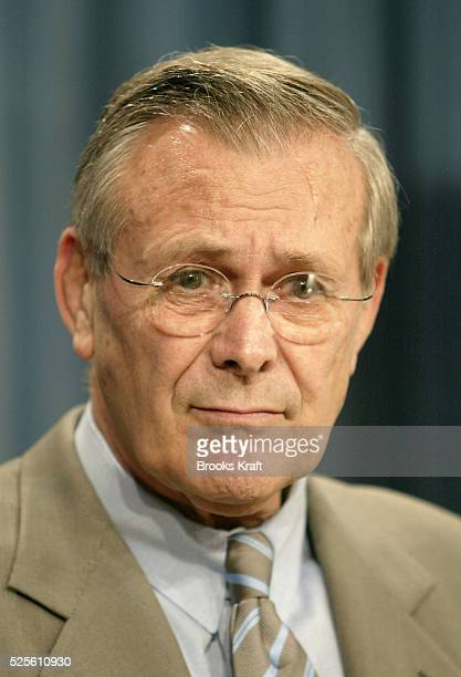 Secretary of Defense Donald H Rumsfeld explains changes to the Unified Command plan at the Pentagon in Washington To better manage homeland defense...