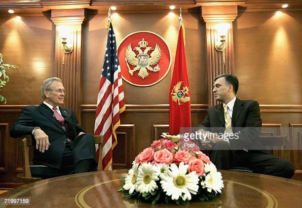 S Secretary of Defense Donald H Rumsfeld meets with Montenegrin President Filip Vujanovic on September 26 2006 in Podgorica Montenegro