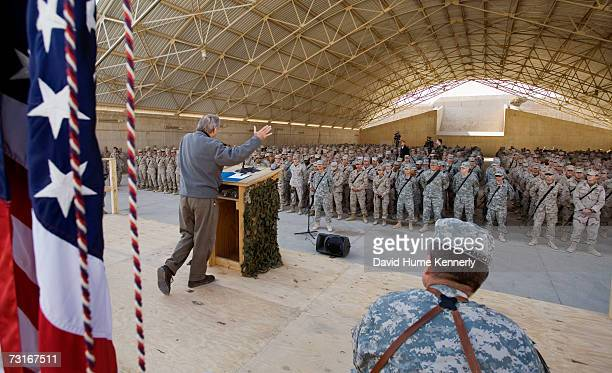 Secretary of Defense Donald Rumsfeld addresses US military personnel during a town hall meeting at Al Asad Air Base Iraq December 9 2006 Rumsfeld...